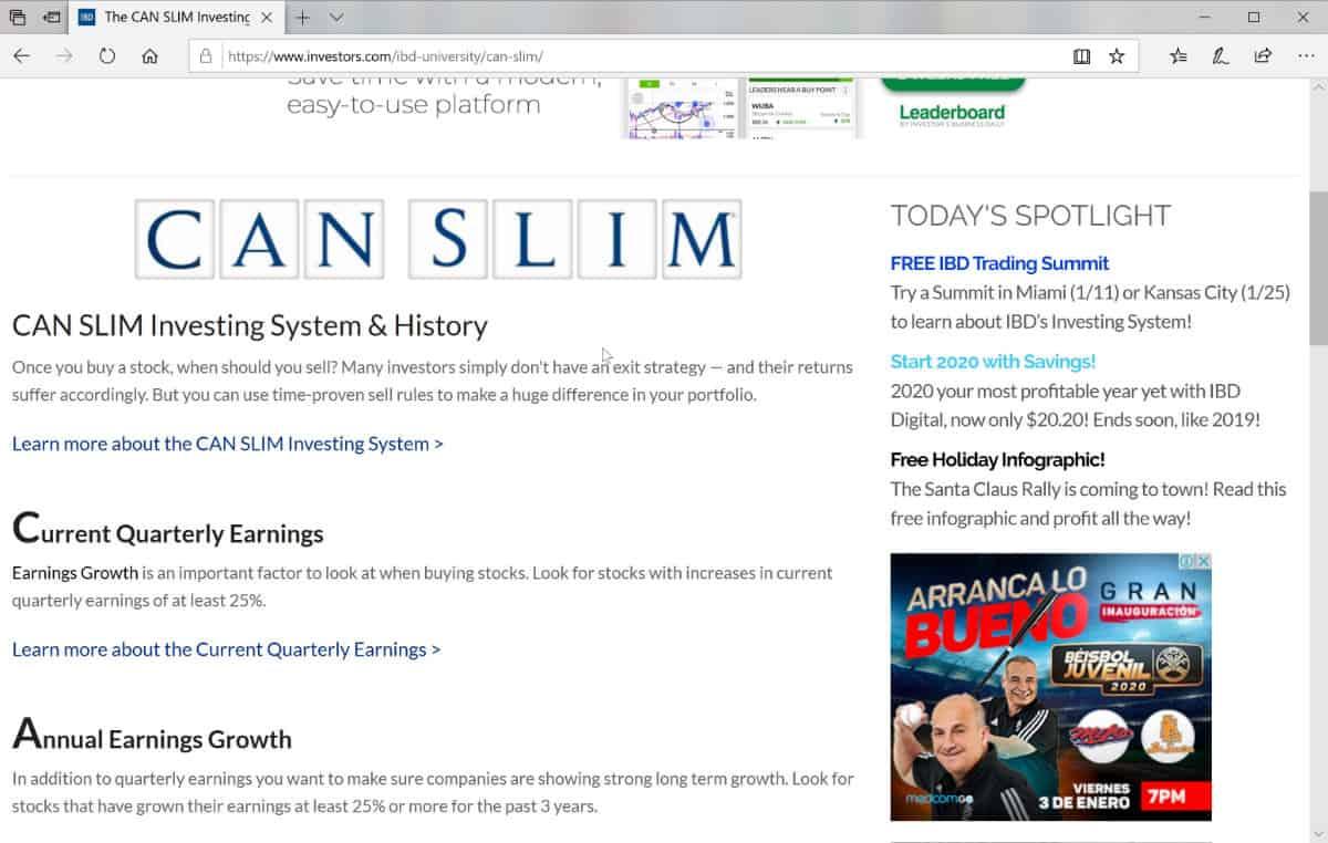 CAN SLIM Trading Method